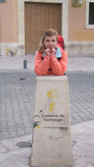 A shot of author Elitsa Dermendzhiyska embarking on the Camino de Santiago trail.