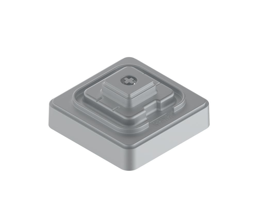 The Base - This is what you sculpt on (it accepts both MX and Topre caps to sculpt around), it also holds the TMX stem into place for co-moulding around.