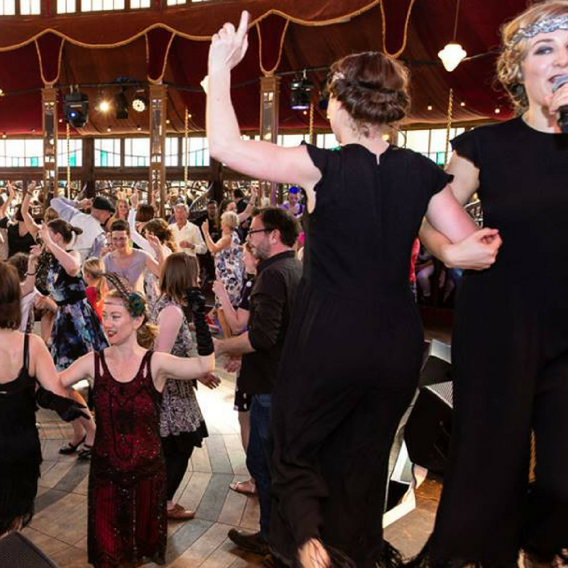 Leading dance lessons for 200 people at Brighton Fringe 2017.