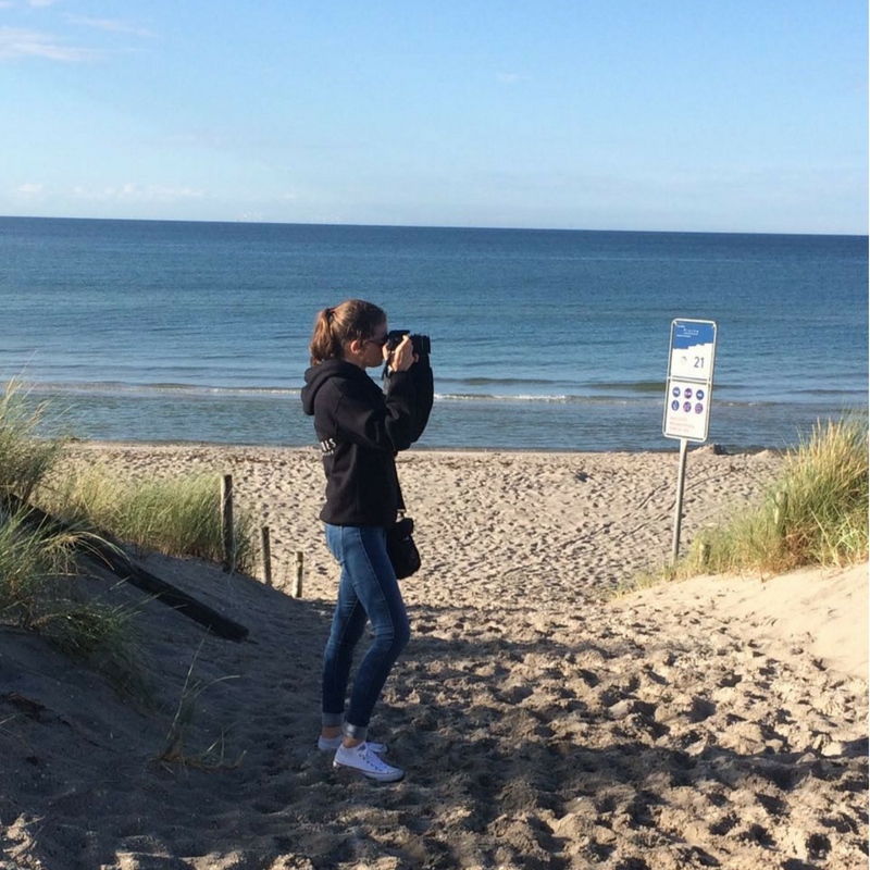 Isabell photographing in Germany.