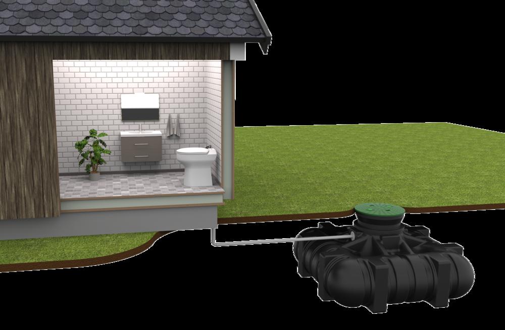 EcoVac Base + 3000 L tank - EcoVac BASIC tillsammans med en 3000-liters tank som ligger nedgrävd påtomten.Vakuumenheten sitter i tornet ute påtanken.Kan räcker till ca 3000 toalettbesök (tömning ca 1 gång per år för permanentboende normalfamilj).