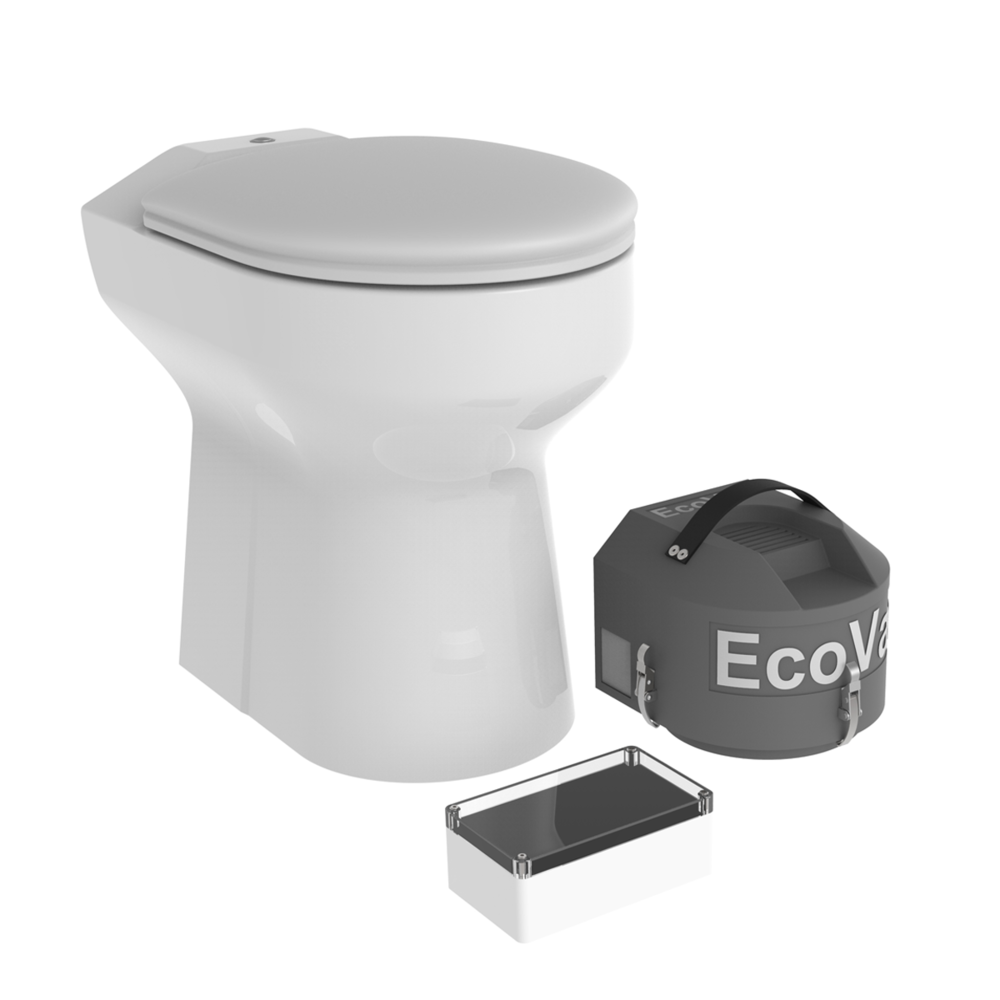 The new EcoVac- The vacuum WC with water flush - – Unique vacuum toilet with water flush. – Saves more than 90% water– Makes it possible with a real WC everywhere!– Used a septic tanke or a bio-collector.– Consumes about 0,6 L / flush!– Recommended by most municipalities.– Available as standard or urine separating WC.From 21.900:- SEK