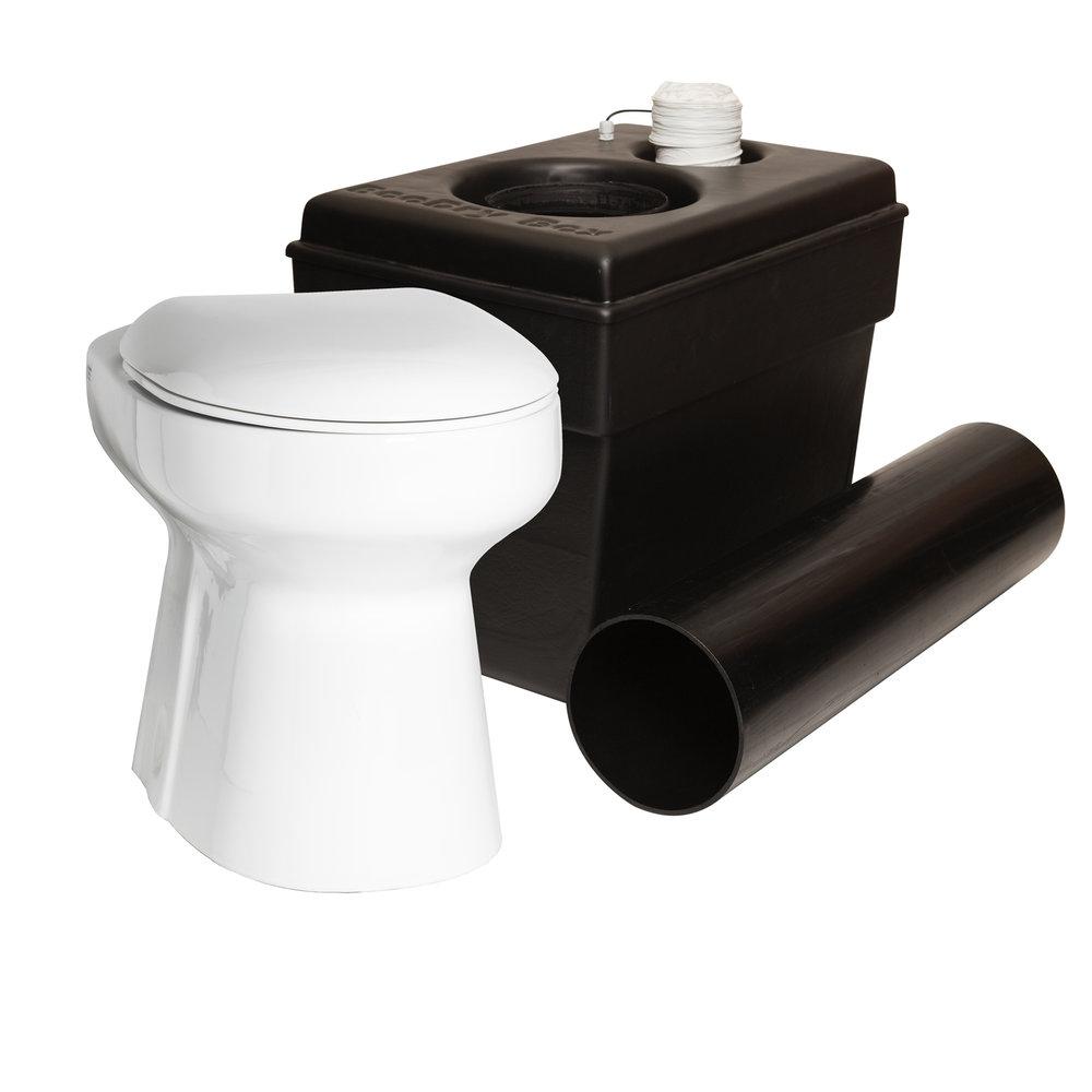 EcoDry™ med BOX - En lyxigare toalett för fritidshuset! En extremt miljövänlig toalett utan kemikalier och med full återvinning. Det bekväma alternativet som alla kan använda hela tiden! Det mer ekologiska valet istället för förbrännings toaletter, utedass, frystoaletter och andra alternativa toaletter.Här tillsammans med Wostmans BOX uppsamlingsenhet med inbyggd fläkt och tillhörande 200mm rör.> Ladda ner broschyr > Ladda ner manual