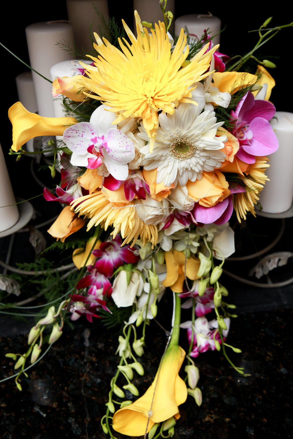 Cazarez Bridal Bouquet Closeup Candles.jpg