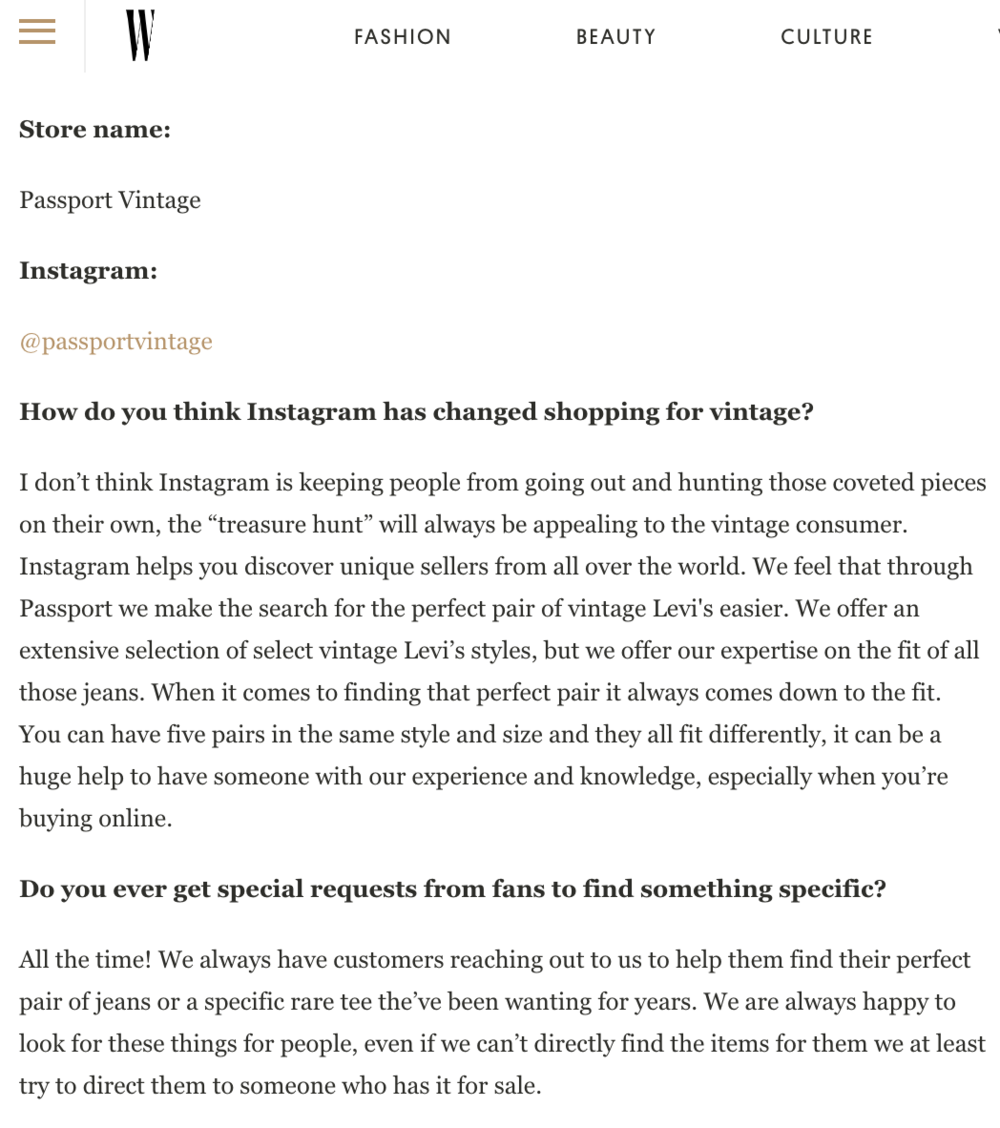 W MAGAZINE           ☞ How To Buy Vintage on Instagram Like a Pro
