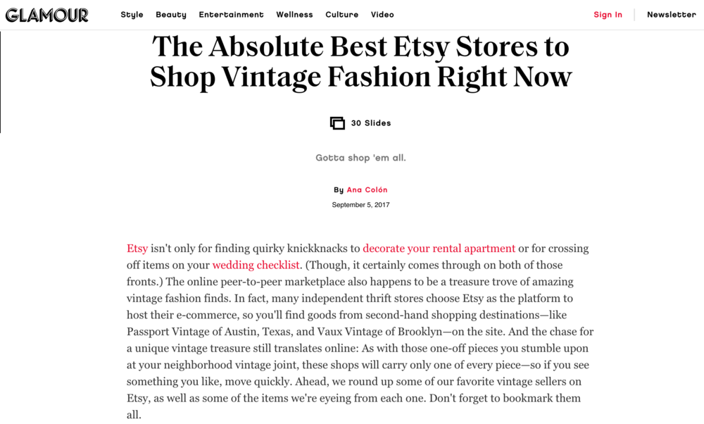 GLAMOUR MAGAZINE  ☞ The Absolute Best Etsy Stores to Shop Vintage Fashion Right Now