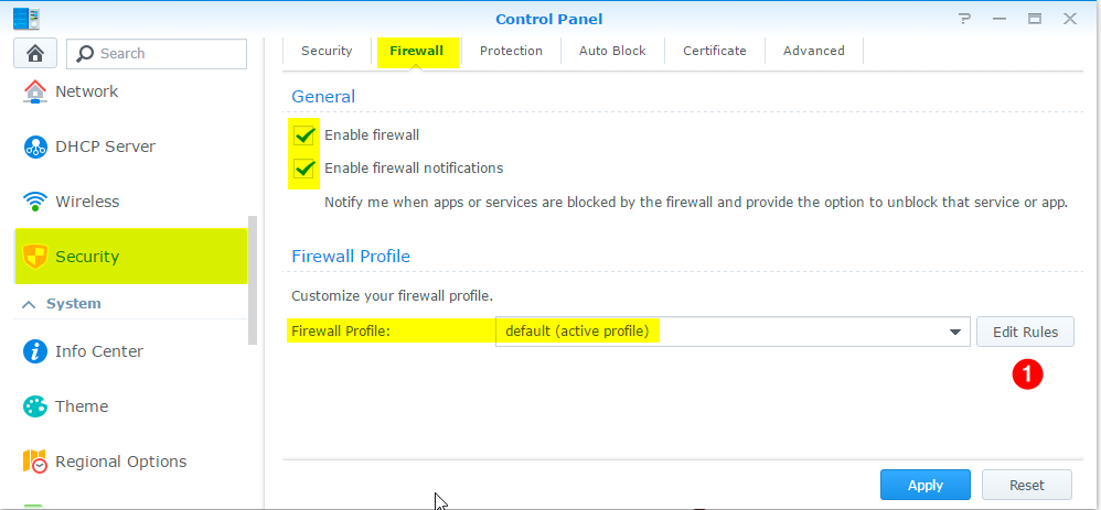 Go to Security, Firewall and you can either create a New Firewall Profile, or edit the existing.