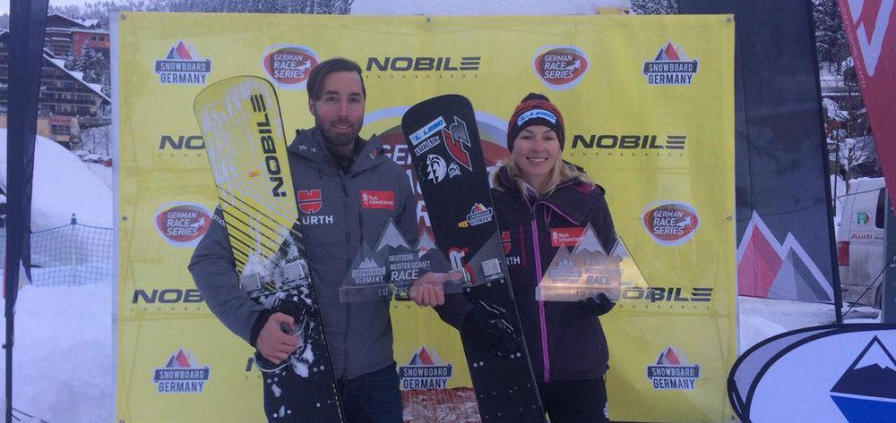 Die bayerischen Raceboarder Selina Jörg und Patrick Bussler fuhren in Hochfügen erneut zum deutschen PGS Titel.