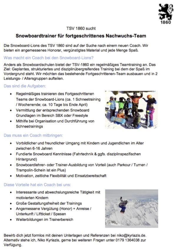 Ausschreibung Trainerstelle TSV1860 Snowboard Team