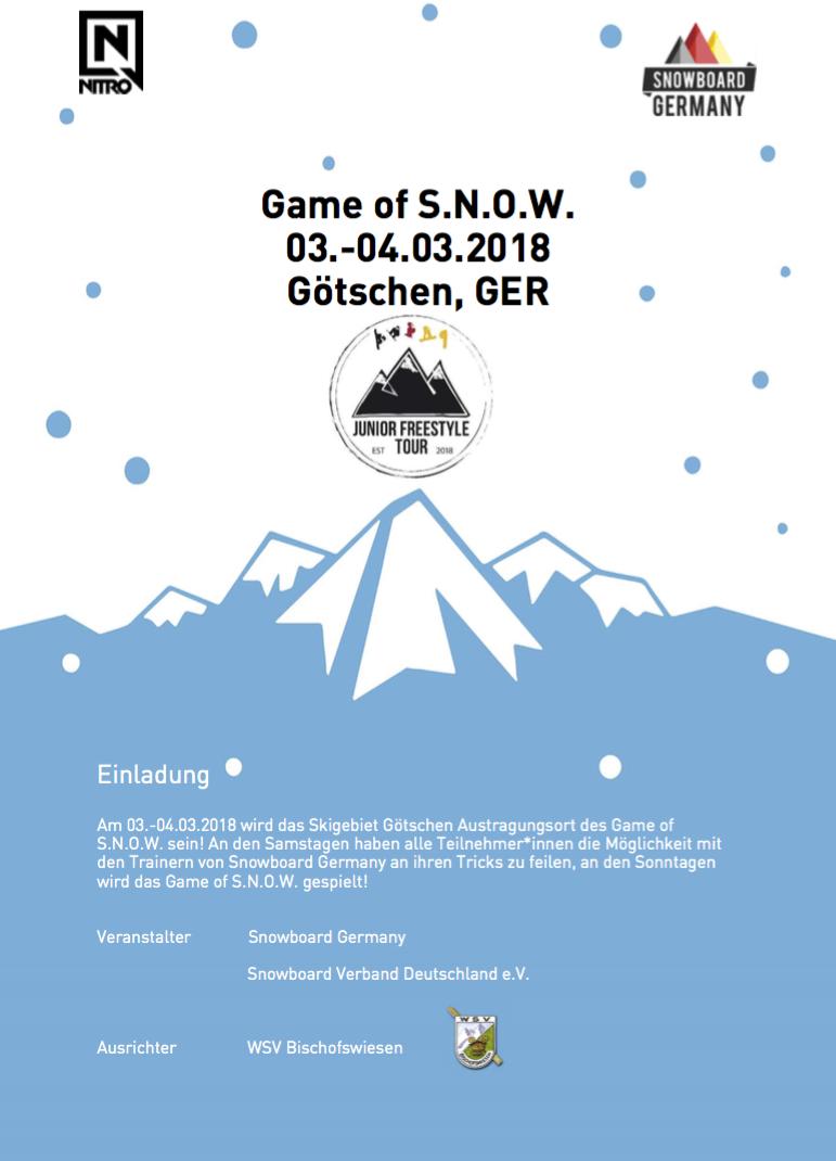 German Junior Snowboard Freestyle Tour Götschen 2018 Game of Snow