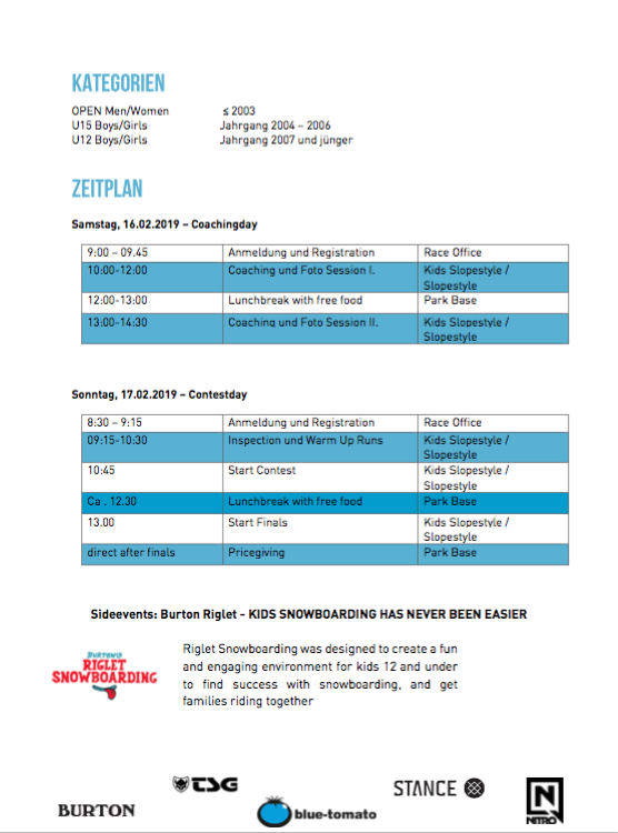 Junior Freestyle Tour Slopestyle Nesselwang (Allgäu) Februar 2019