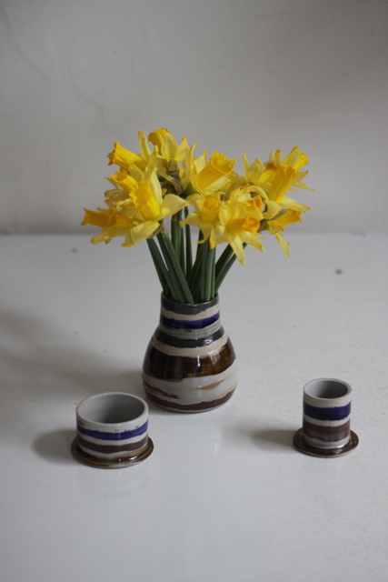 stoneware vase with lids/ cups rutile, iron, colbalt oxides