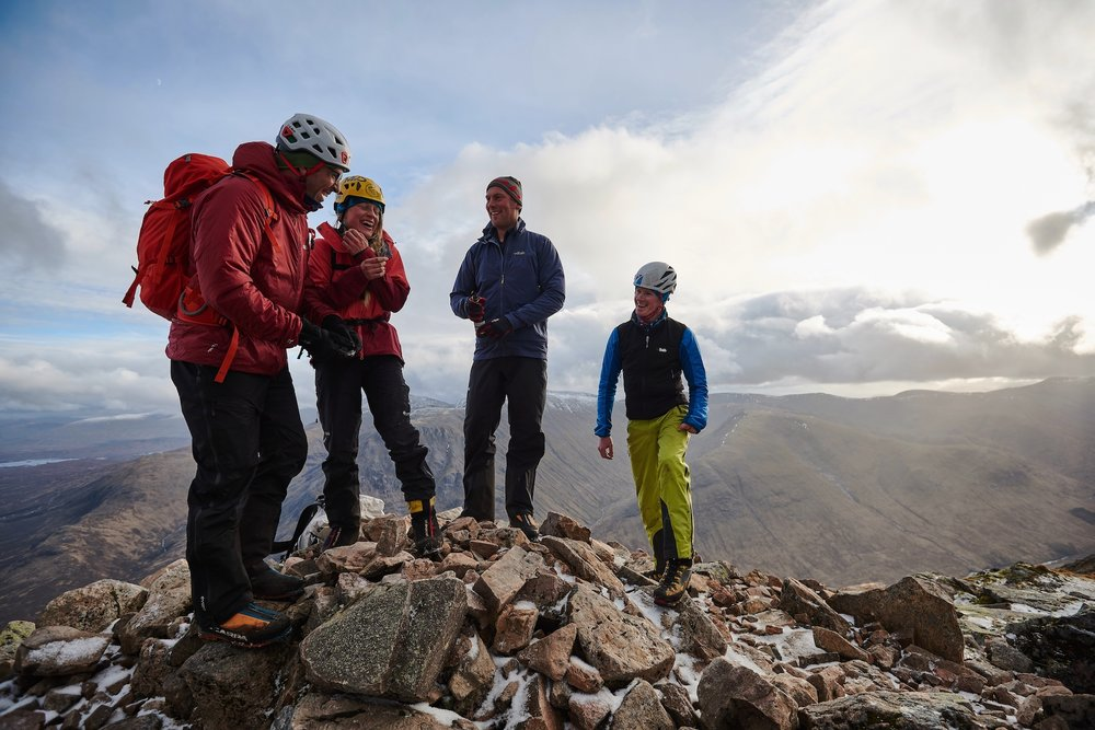 Fabrizio Zangrilli, Angela Vanweimeersch, Jon Frederick and Kev Shields on Curved Ridge, Buachaille Etive Mhor. Photo by Hamish Frost for Coldhouse Collective