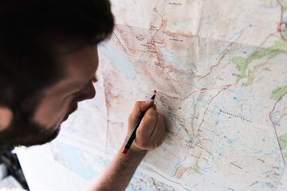 Mapping and plotting numerous routes in the Scottish Highlands. Photo by Nicholas JR White