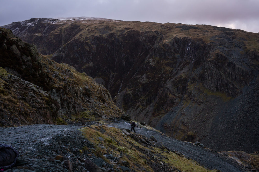 Nicholas making his way up the track at Honister Slate Mine. Photo by Jessie Leong