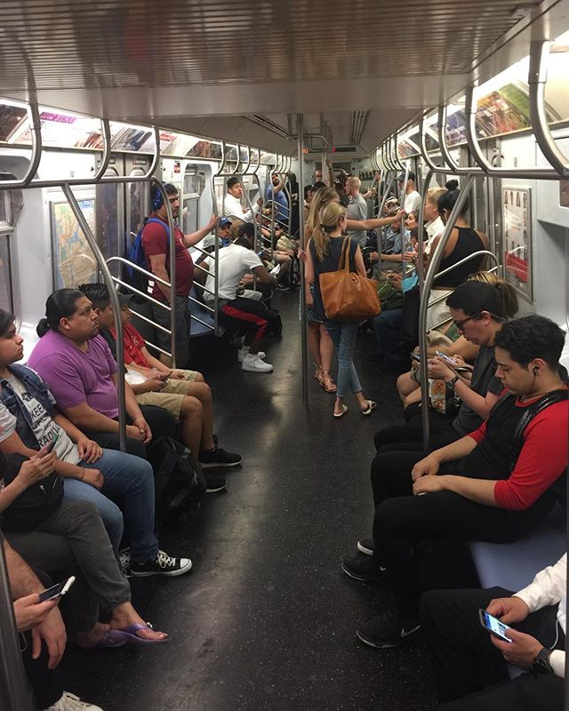Amazing! A whole subway car full of people listening to How I Got Here! You can be like them. On iTunes and @podcastone. #podcast #linkinbio #subway #NYC