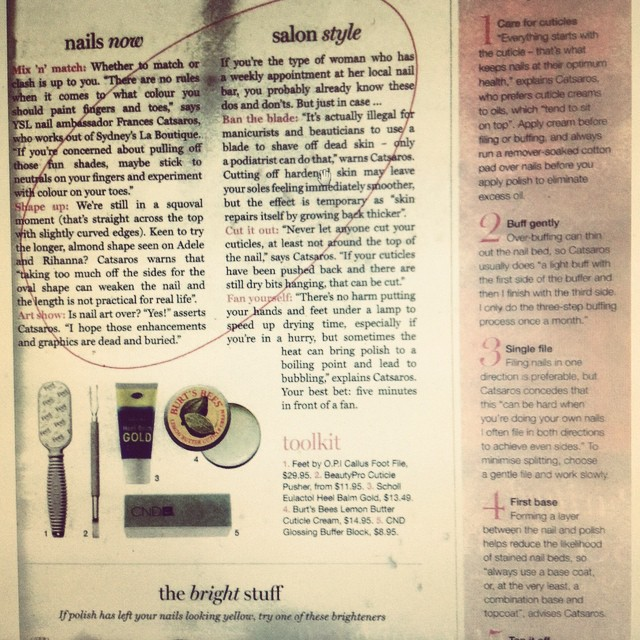#Frances Catsaros, our manicurist extraordinaire cuts loose in #Marie Claire magazine!!