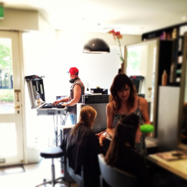 DJ Jules killing it in the salon, summer is here! (at La Boutique)