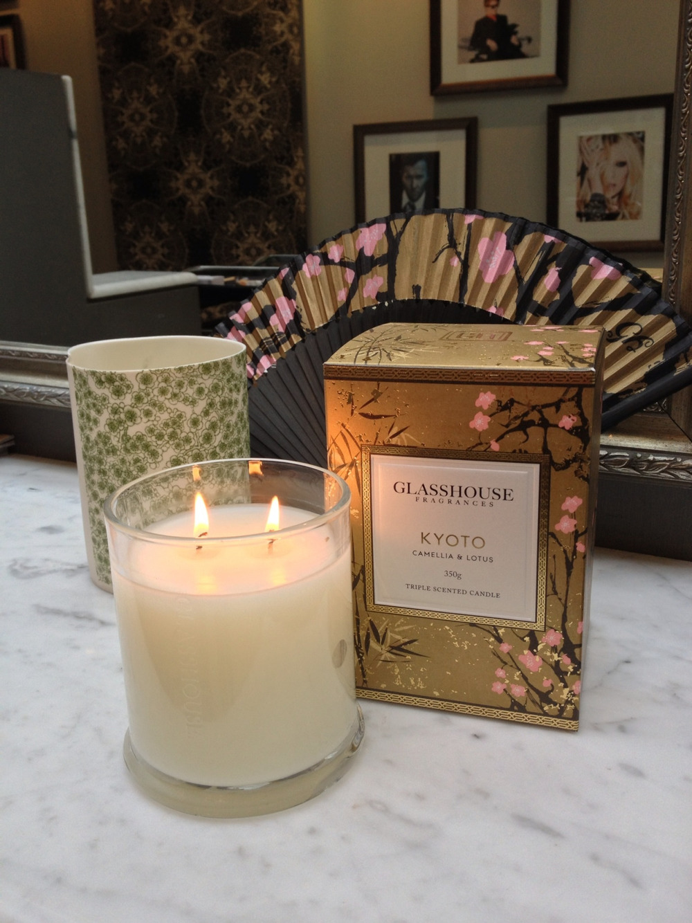 "We are loving the new limited edition 'Kyoto' candle from Glasshouse. ""Kyoto is the scent of an untold story of the forbidden lust and love between an emperor and a common girl. It's brought to life by Kyoto's sensual blend of Camellia, Lotus and Amber for a truly sacred experience"" - Nicole Eckels, Creative Director."