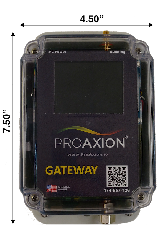 Gateway - Connects sensors to ProAxion cloud via cellular, WiFi or EthernetIndustrial-rated enclosure (NEMA 4X)Uses latest security protocols (HTTPS / TLS 1.2)True plug and play - no configuration requiredHigh connectivity reliabilityAutomatic software updates for life
