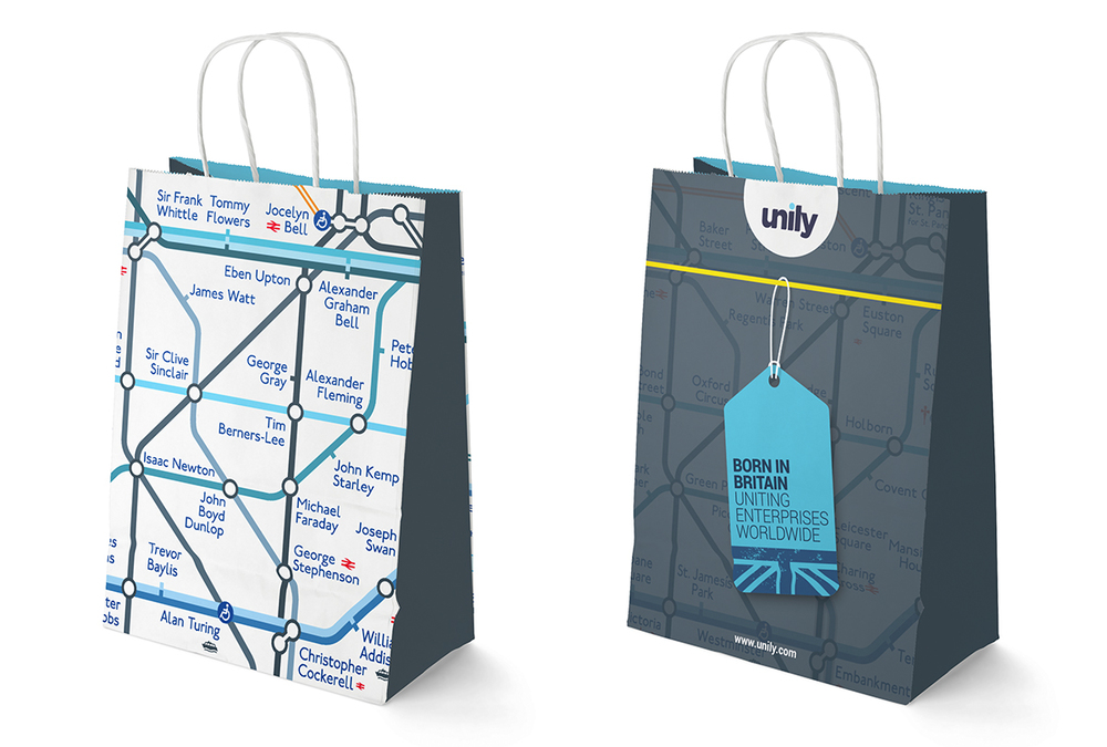 Unily event brand design on bags