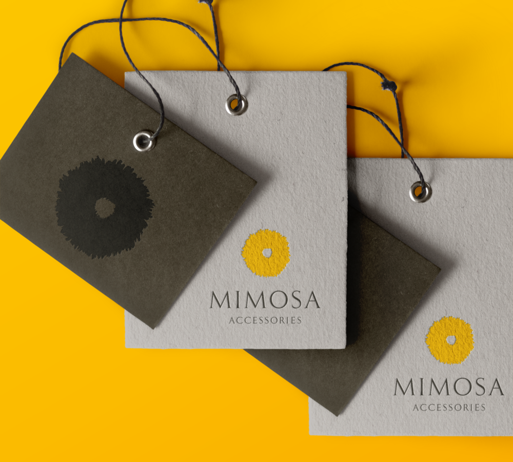 Swing tag designs for Mimosa Accessories