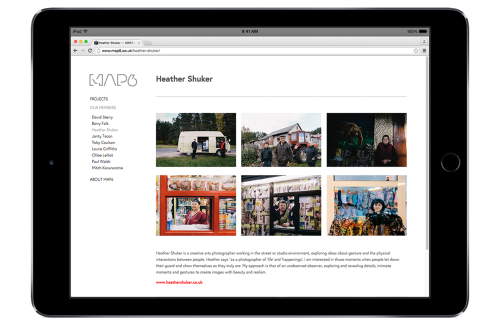 MAP 6 photographers' website design