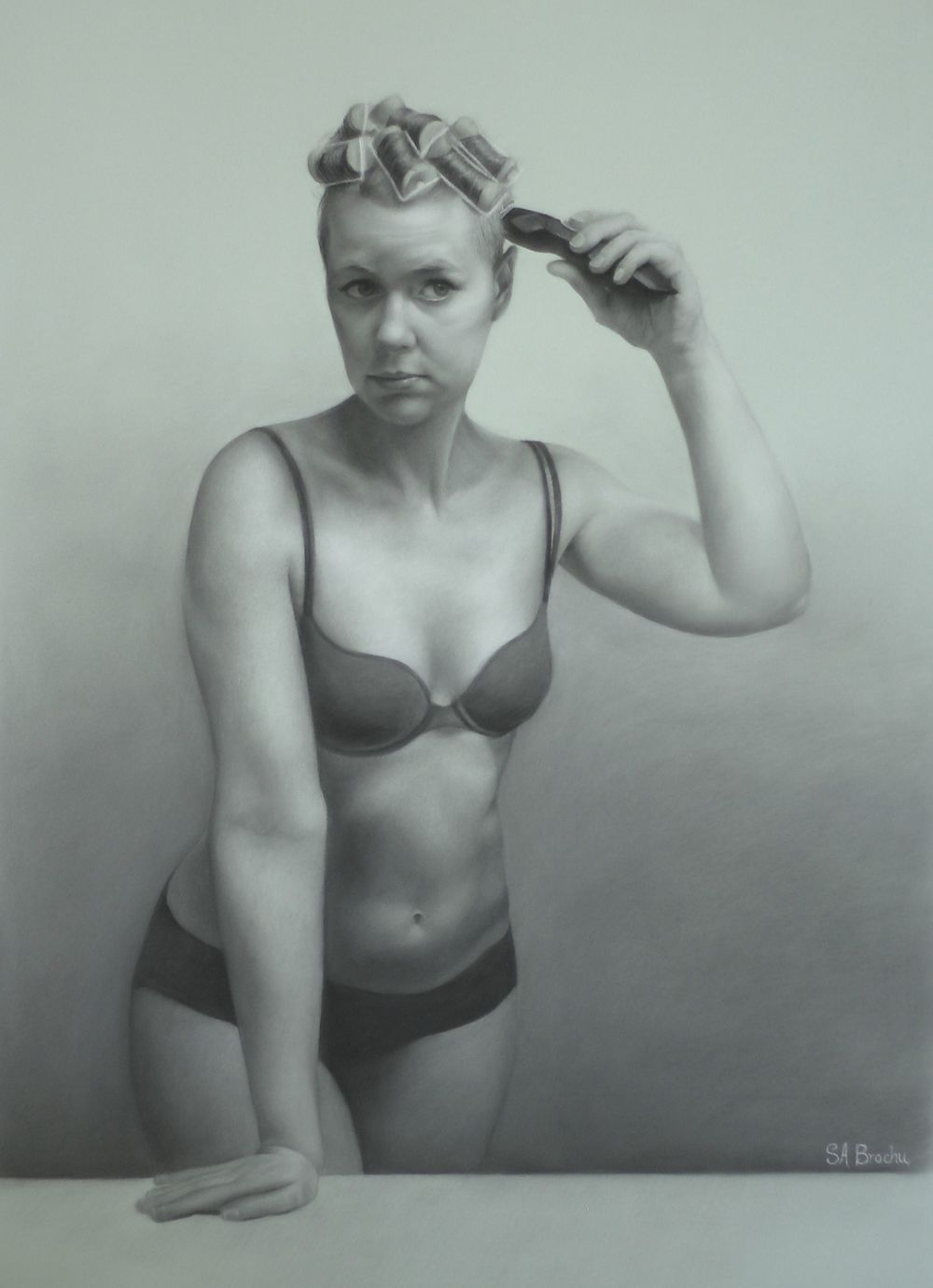 Morning Shave , charcoal and white chalk on tinted paper, 18 x 26""