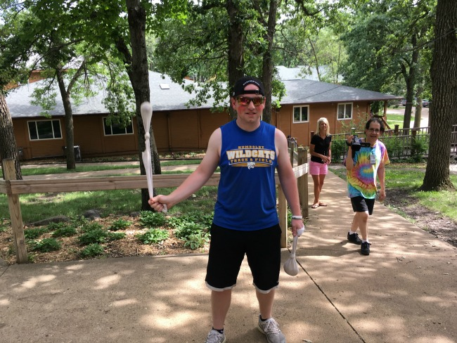 "One of the ""Bonkers"" waiting to tag campers as they complete a scavenger hunt around the grounds."