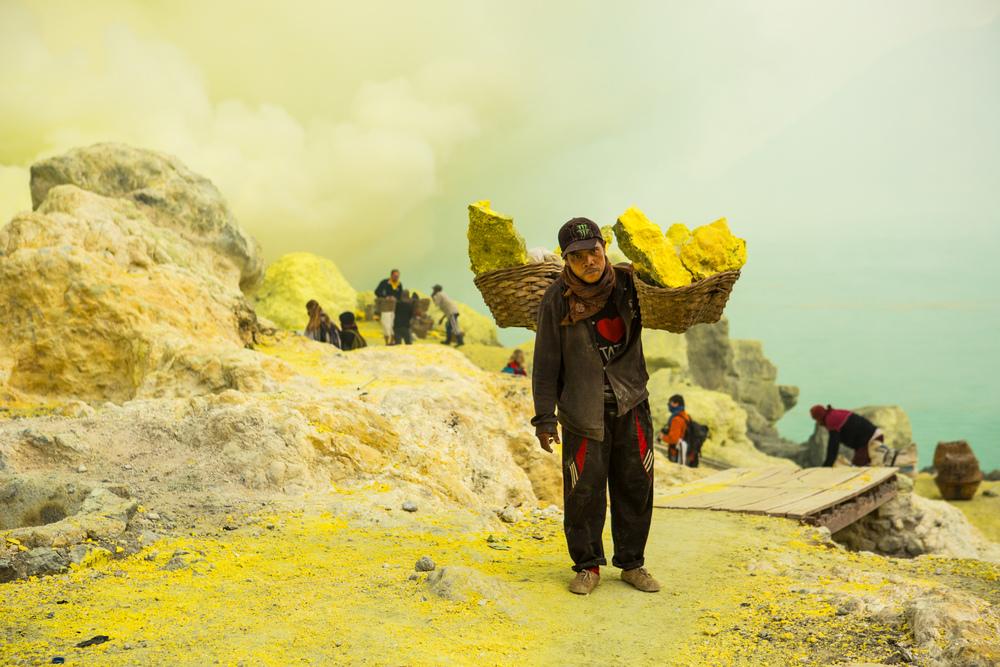 Sulfur Miner, Ijen Volcano