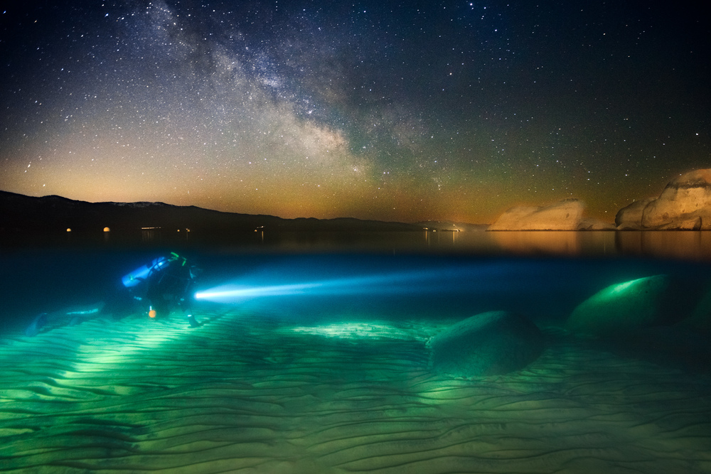 Chris Gregor Goes Night Diving, Lake Tahoe