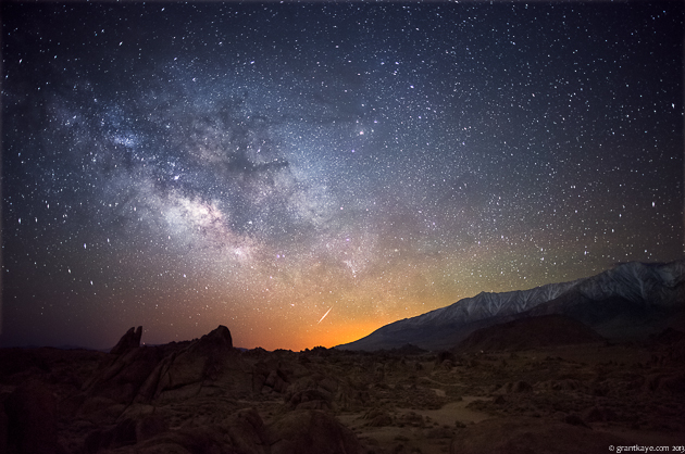 Meteor and Milky Way in the Alabama Hills