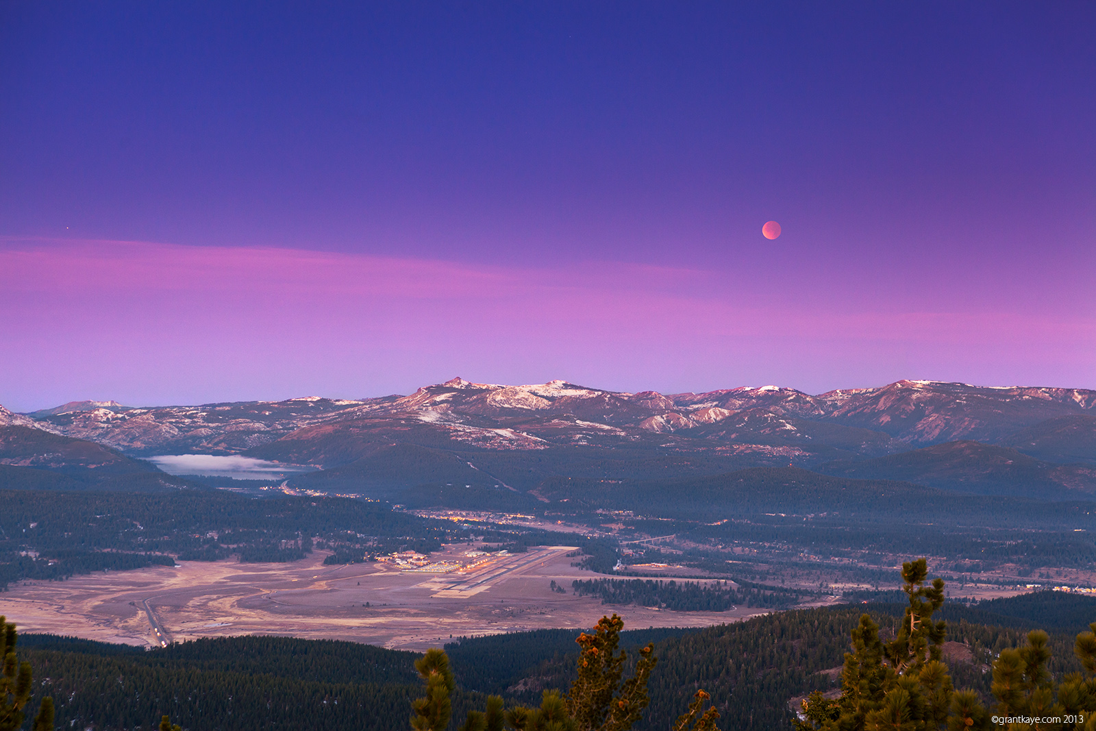 Eclipsed full moon setting over Tahoe Donner, 12/10/2011