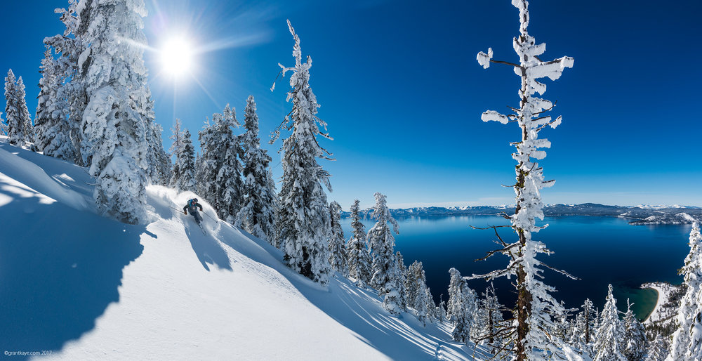 Court Leve skis the east Shore of Lake Tahoe