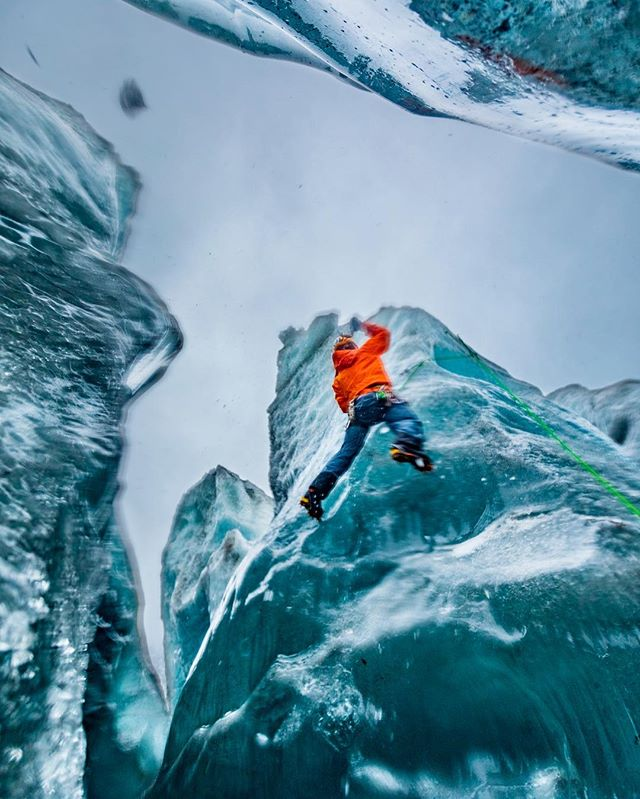 "Adventures on ice with @ad.climbandski @tinovillanueva @paulkrekow and @pcfreeskier at the Sheridan Glacier, Cordova Alaska. No down days at @pointsnorthheli, only the challenge of ""what kind of fun do I want to create today?"" #glacier #alaska #ice #iceclimbing #cordovaak #blue"