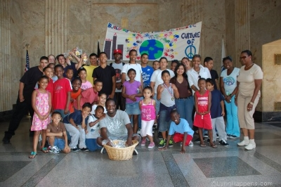 The Summer 2012 Peace Camp class In the lobby of Lynn City Hall after their peace march.