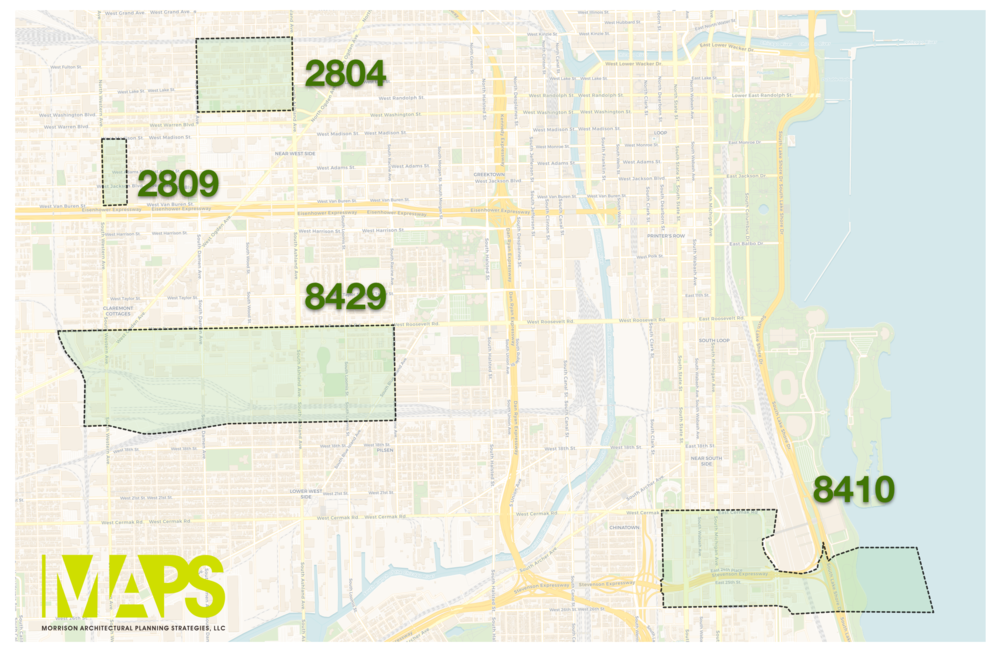 """Map: Four of the top 10 Opportunity Zones, ranked by their """"Smart Growth Potential""""."""