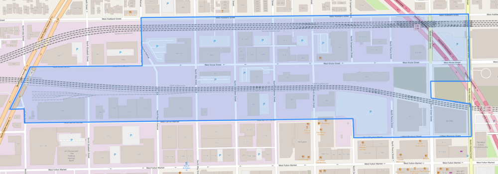Map of the Kinzie Corridor Overlay district where property owners can apply for a zoning change to DX and then purchase more FAR through the Neighborhood Opportunity Bonus.