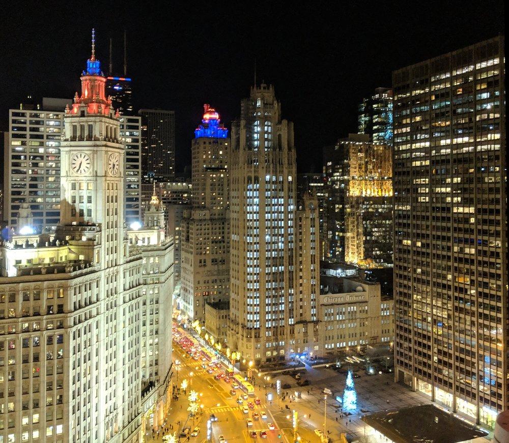 Tribune Tower at night