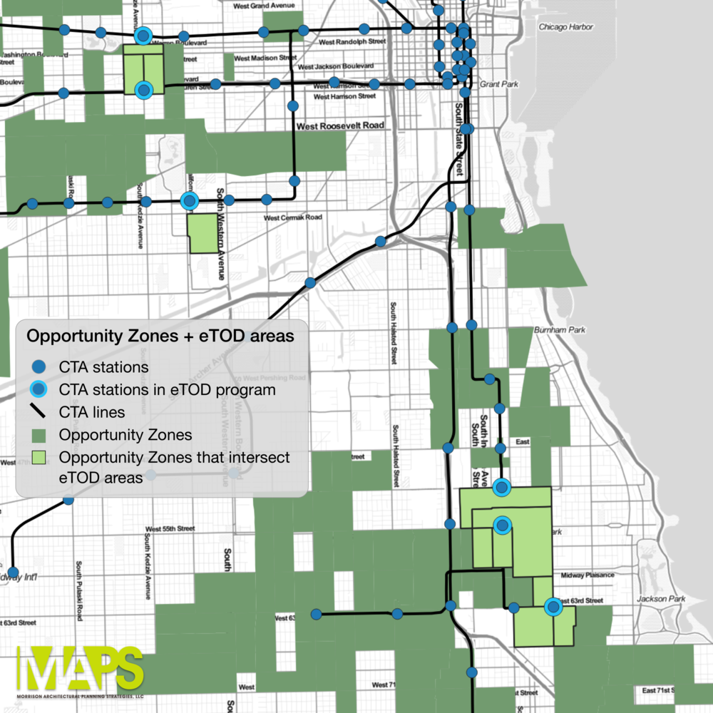 The map shows where Opportunity Zones and the Elevated Chicago eTOD stations and station areas overlap.