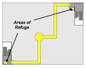 A sample plan view of areas of refuge inside stairways, as part of an egress path (shown in yellow). Image:  United States Access Board