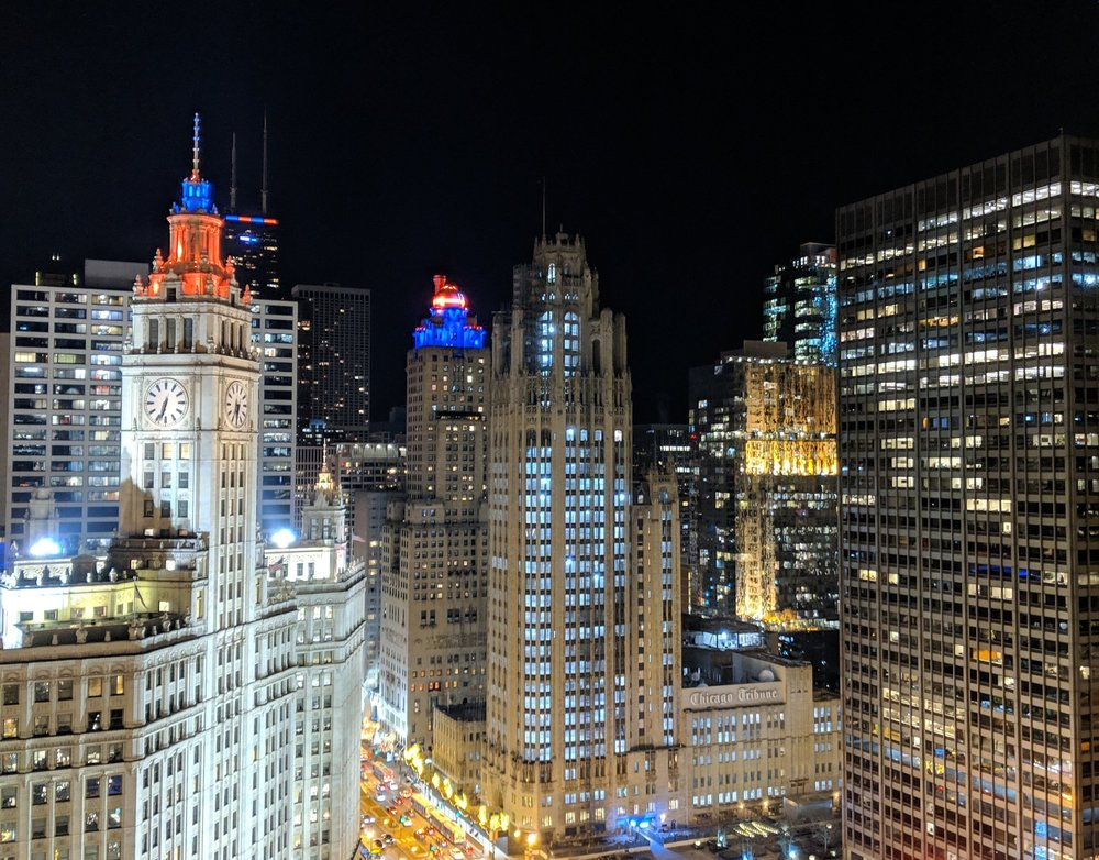 Tribune Tower at night in January 2019