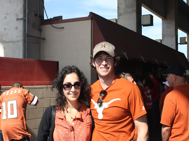 Stephen and I embracing the Texan love of football- go Longhorns!