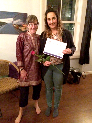 recieving my certifacte from my teacher, Heather