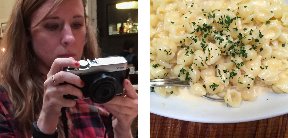 "A table of photographers means everybody was equipped with their cameras. The ""No Cheese Mac and Cheese"" was also a crew favorite. Photos by Noel"