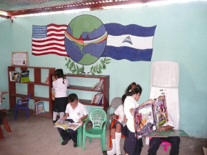 The mural in the San Benito Lending Library