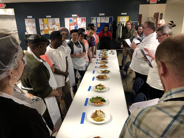 Students in the Food Jobs Work program describe their dishes to chef judges. The next program begins March 12, 2018.