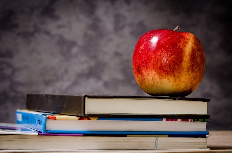 Fact: No one seems to know exactly when people started giving apples to teachers, but it may have started long ago when food was used to pay teachers for their services.  Another Fact: I don't know any teachers who want to be paid with apples (or food in general).
