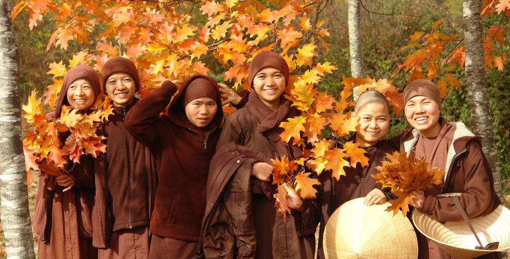 Monastic sisters enjoying the fall colors