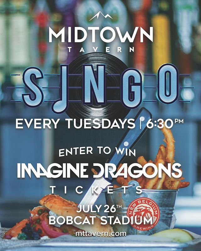 Attention Bozeman!  In collaboration with New Belgium Brewing Company, we are happy to announce that we will be starting a raffle TONIGHT for your chance to win two Imagine Dragon tickets on July 26th! Each Singo round winner will be automatically entered, so all you have to do is come in on Tuesday nights @ 6:30 and have fun playing some Singo! #imaginedragons #newbelgium #mttavern #singo